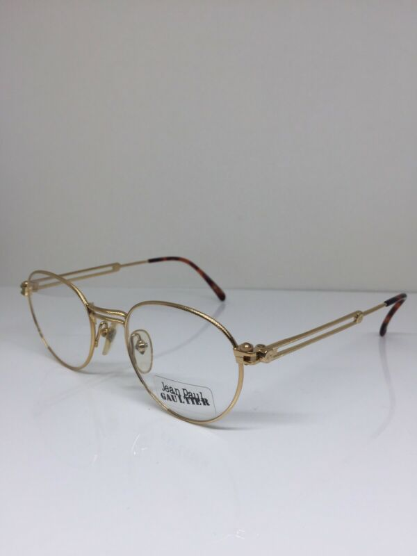 New Vintage Jean Paul Gaultier JPG 55-4176 Eyeglasses Shiny Gold Plated Japan