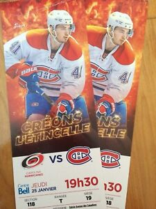 2 billets Canadiens vs Hurricanes 25 janvier 19h30 ROUGE