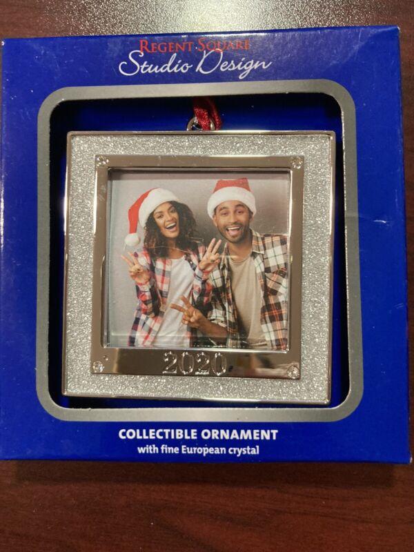"2020 Christmas Ornament, Silver Square, 3"" x 3"", Regent Square, Studio Design"