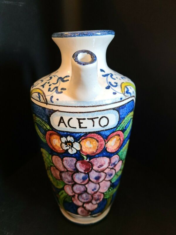 Hand Painted Pitcher, Italian, Vinegar, ACETO Vintage? Ceramic, Handmade