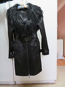 Brand New Bebe Trench Coat with Detachable Faux Fur Collar