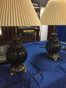 Pair of 60's-70's glass lamps made in Winnipeg