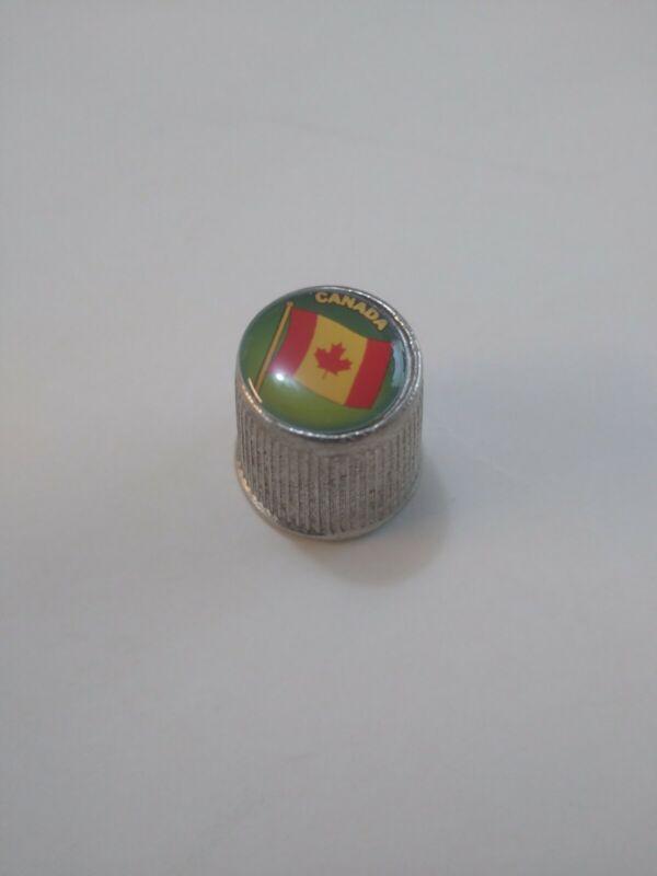 Canada Souvenir Pewter Metal Thimble w/   Canadian Flag