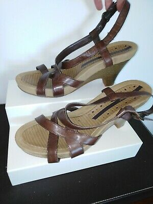 Hush puppies  Ladies Brown Leather High Wedge Sandals Sz 8