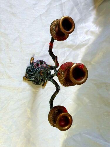 Ancien chandelier bougeoir en métal candélabre vintage