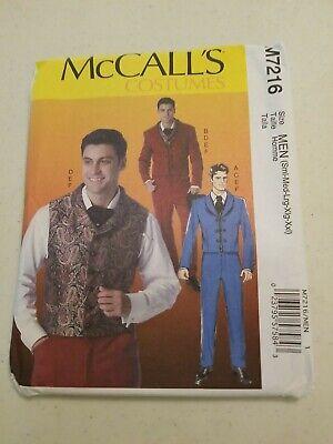 McCalls M7216 Men Suit Steampunk Costume Jacket Vest Pants Tie Pattern Sz 34-52