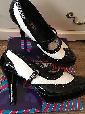 Funtasma contessa shoes black and white patent 6 (gangster, flapper) - Black And White Flapper Shoes