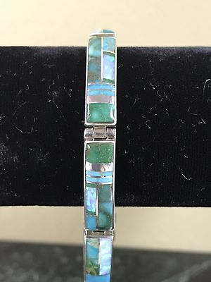 Kenneth Bitsie Sterling Silver Turquoise Opal Inlay Bracelet Stunning!
