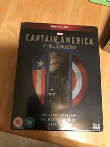 Captain America Trilogy Blu Ray 3D and 2D W Extras New/Sealed