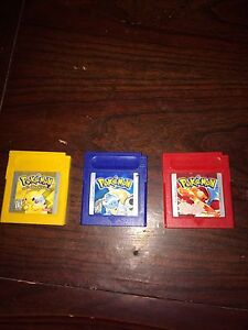 Pokemon yellow blue and red for game boy!