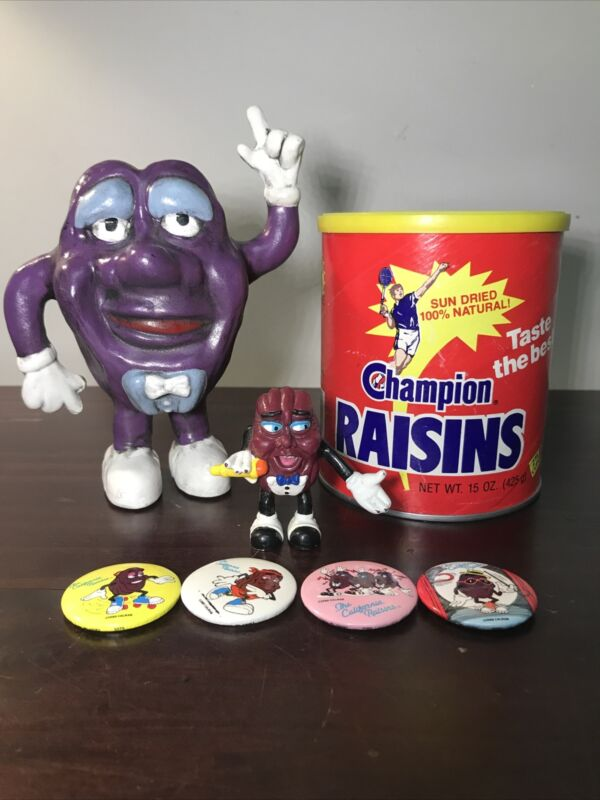 Caifornia Raisin Lot • Tin Can • Magnets • 1988 Applause • Porcelin