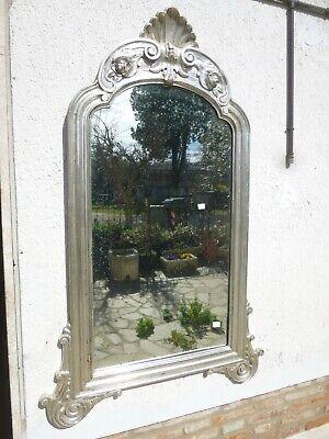 Antica Grande Specchiera 168x106 Foglia argento Epoca '800 Specchio Mercurio n2