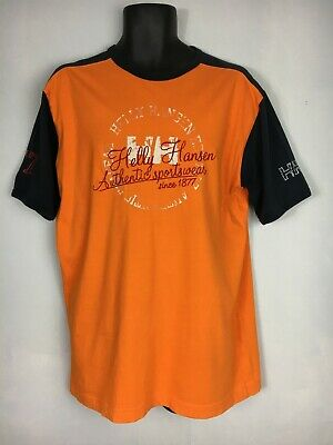 Vintage Helly Hansen T-Shirt, Orange, Embroidered Design, Short Sleeve, L, GC