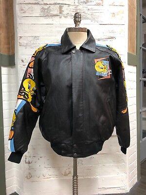 "Classic Looney Tunes RARE 1998 Tweety Bird ""Dance Class"" Leather Jacket Large"