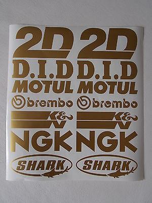 Gold Aufkleber Set (14 Teiliges - Motorrad Sponsoren Aufkleber - Set - 2x7 Sück - Gold)