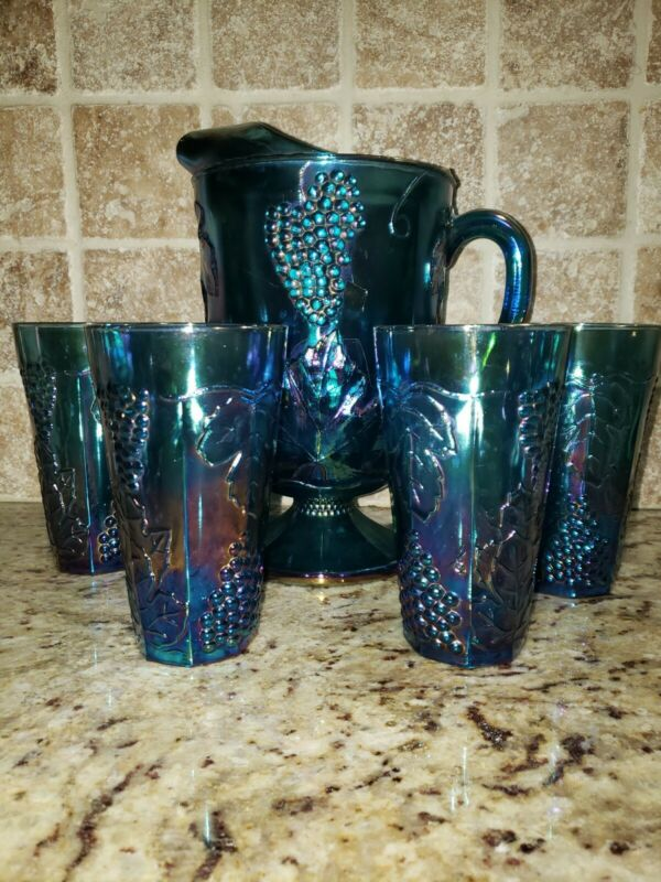 INDIANA CARNIVAL GLASS IRRIDESCENT BLUE PITCHER FOUR GOBLETS GRAPE CARNIVAL MINT