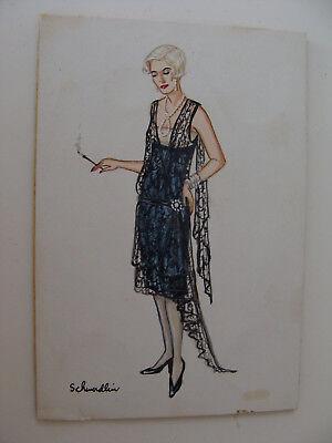 Original Art Gouache Costume Fashion Design 1920s Flapper Black Gown signed