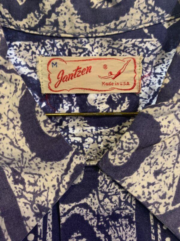 Vintage EARLY Jantzen Hawaiian Shirt Blue Button Up M 1940s 1950s Wood Buttons