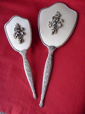 Vanity Set Brush Comb Mirror Silver Toned Ornate Roses Vnt Retro Large Heavy WoW ()