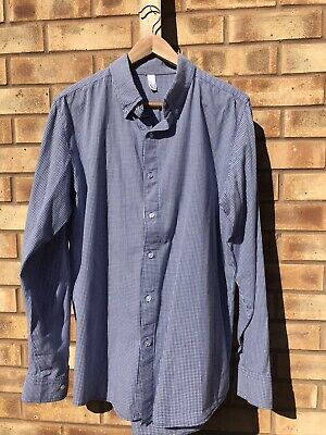 Used, American Apparel Gingham Shirt L Blue White for sale  Shipping to Nigeria