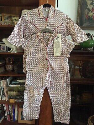 NEW Womens 3 Piece 1950s Cotton Pajamas PJ Johnny Coat Top & Pants Set Size covid 19 (Coat Top Pants coronavirus)