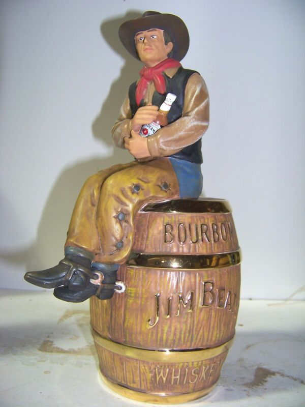 Jim Beam IAJBBSC #1 Cowboy In Brown Shirt On Gold Trim Whiskey Barrel Decanter