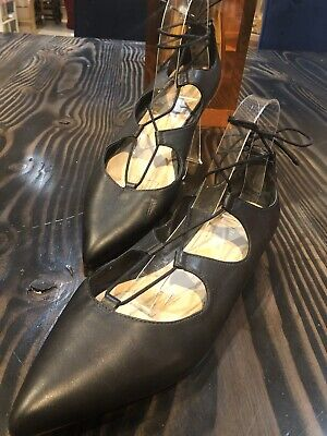 Loeffler Randall Ambra Lace Up Ballet Flat Black Leather Pointed Toe Size 11