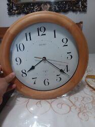 "12"" Seiko wall clock. Light Brown oak wood clock quiet sweep"
