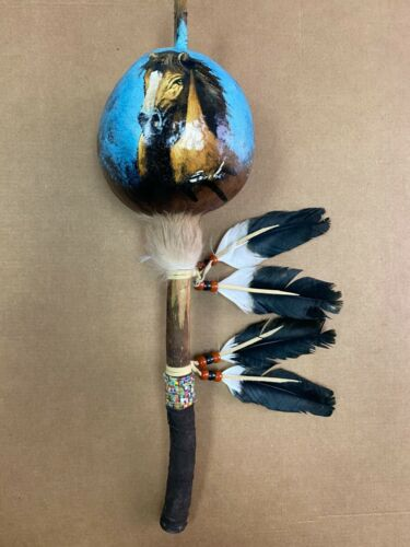 HAND PAINTED DANCE GOURD RATTLE ,CEREMONIAL ,SANTA FE STYLE ,NATURAL , HORSE 02