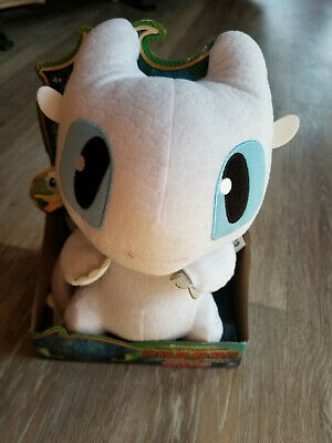 How To Train Your Dragon Squeeze & Growl Lightfury Plush White Dragon Toy New