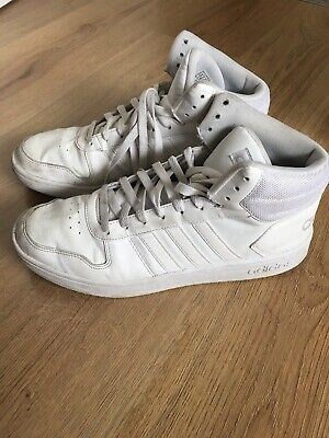 Mens White Adidas Trainers Size 11 High Tops