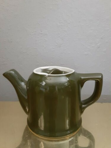 Vintage Hall Pottery China Small Individual Teapot Olive Green restaurant ware
