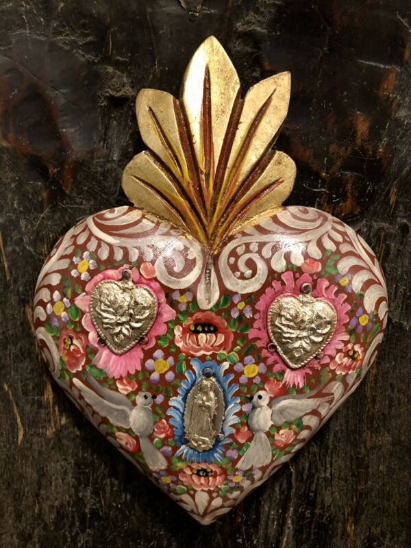 Hand Painted SACRED HEART with Virgin Guadalupe & Doves, Milagros Heart