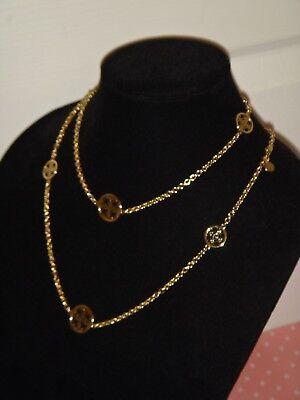 Michael Kors Women's Gold Tone Heritage MK Monogram Disks Station Chain Necklace