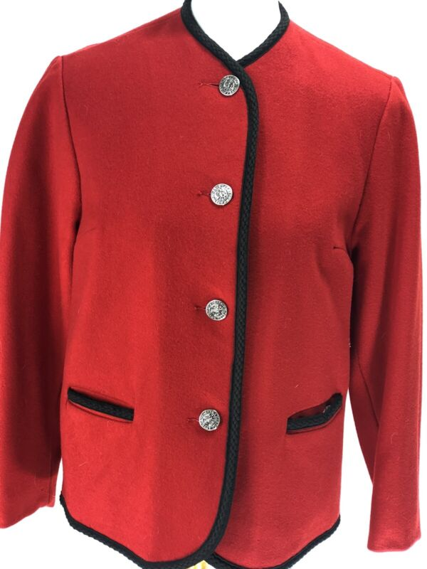 Sears Vintage Womens Red Coat Jacket Size Medium Wool