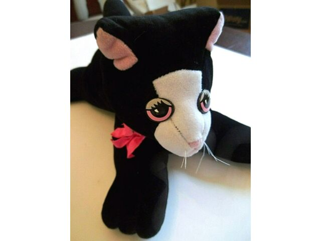 "Vintage Tonka Pound Pur-r-ries Plush Stuffed Black Cat 8"" Tall x 12"" Long"
