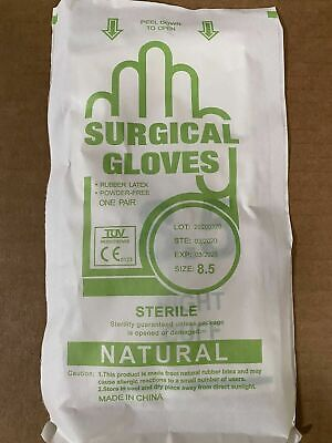 Sterile Latex Surgical Gloves Powder-free Size 8.5 50 Pairs Per Box