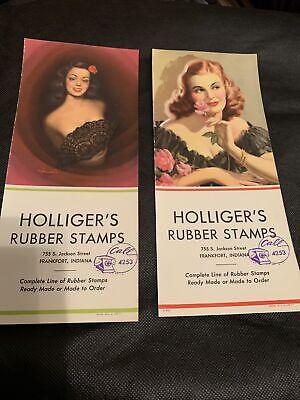 Vintage Ink Blotter Frankfort Indiana Holliger's Rubber Stamps Pinup Girls Phone
