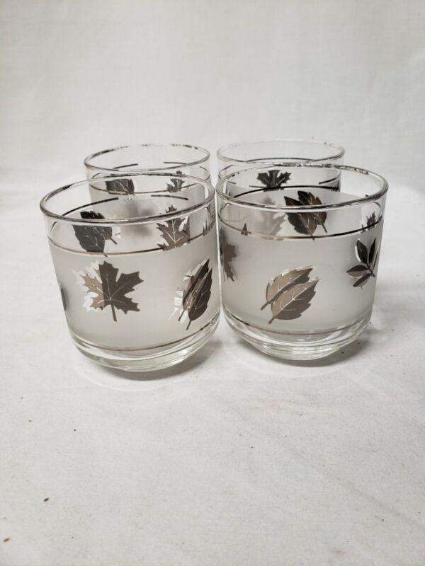 Vintage Libbey Silver Leaf Rocks Glasses Set of 4, mcm 1960s lowball glasses