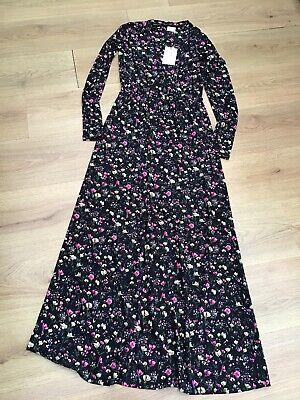 WOMENS BLACK FLORAL ELASTICATED WAIST MAXI DRESS JACQUELINE DE YONG SMALL BNWT