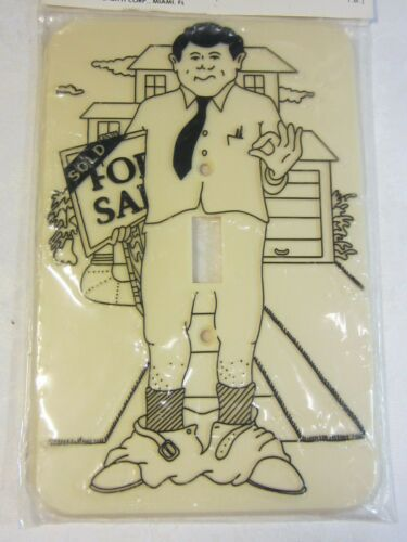 Vintage FLASH IT Adult Humor Novelty LIGHT SWITCH COVER Relator Real Estate Male