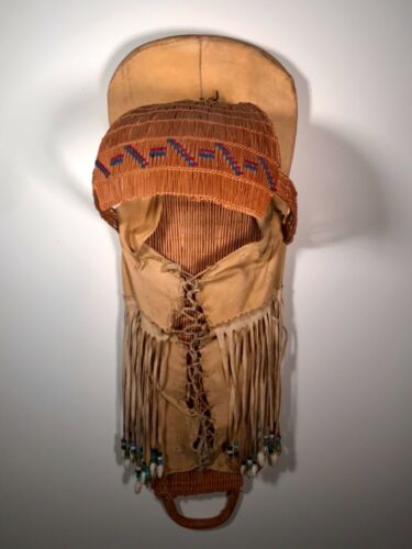 IMPRESSIVE PAIUTE CRADLEBOARD,TANNED HIDE,YARN EMBROIDERED & BEAD DANGLERS,EXCLT