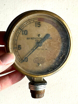 Vtg Airco Air Reduction Co. New York Ny Brass Steampunk Gauge A1rco