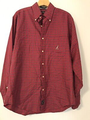 Nautica Mens Size M Shirt Plaid Red Long Sleeve Christmas Cotton Pockets Front