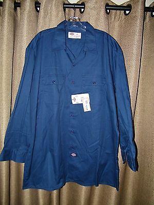 Dickies NWT Long Sleeve NAvy Blue Pocket Work Shirt NEW Size  2XL