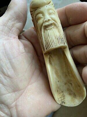 Oriental Carved Bovine Bone Spice/snuff Scoop