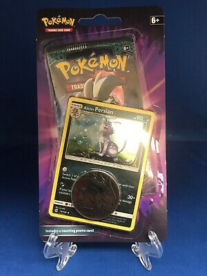 Pokemon Alolan Persian Blister Pack Booster Promo Coin Holo Halloween Rare (Halloween Promo)