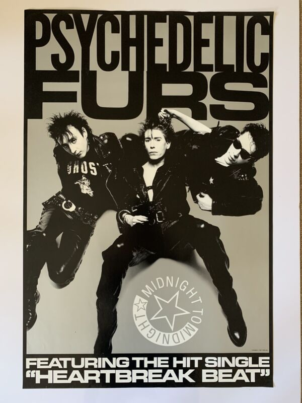 """Original 1987 Psychedelic Furs Midnight Promotional Poster 26"""" x 39"""" EX New Wave"""