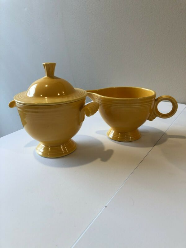 Vintage Original Yellow Fiestaware Sugar with Lid and Creamer Set