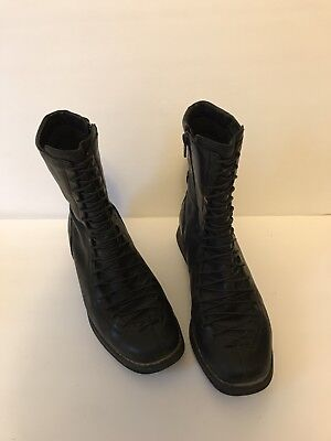- REMONTE Womens Black Leather Zip Moc Ankle Lace Combat Military Boots 9.5 40